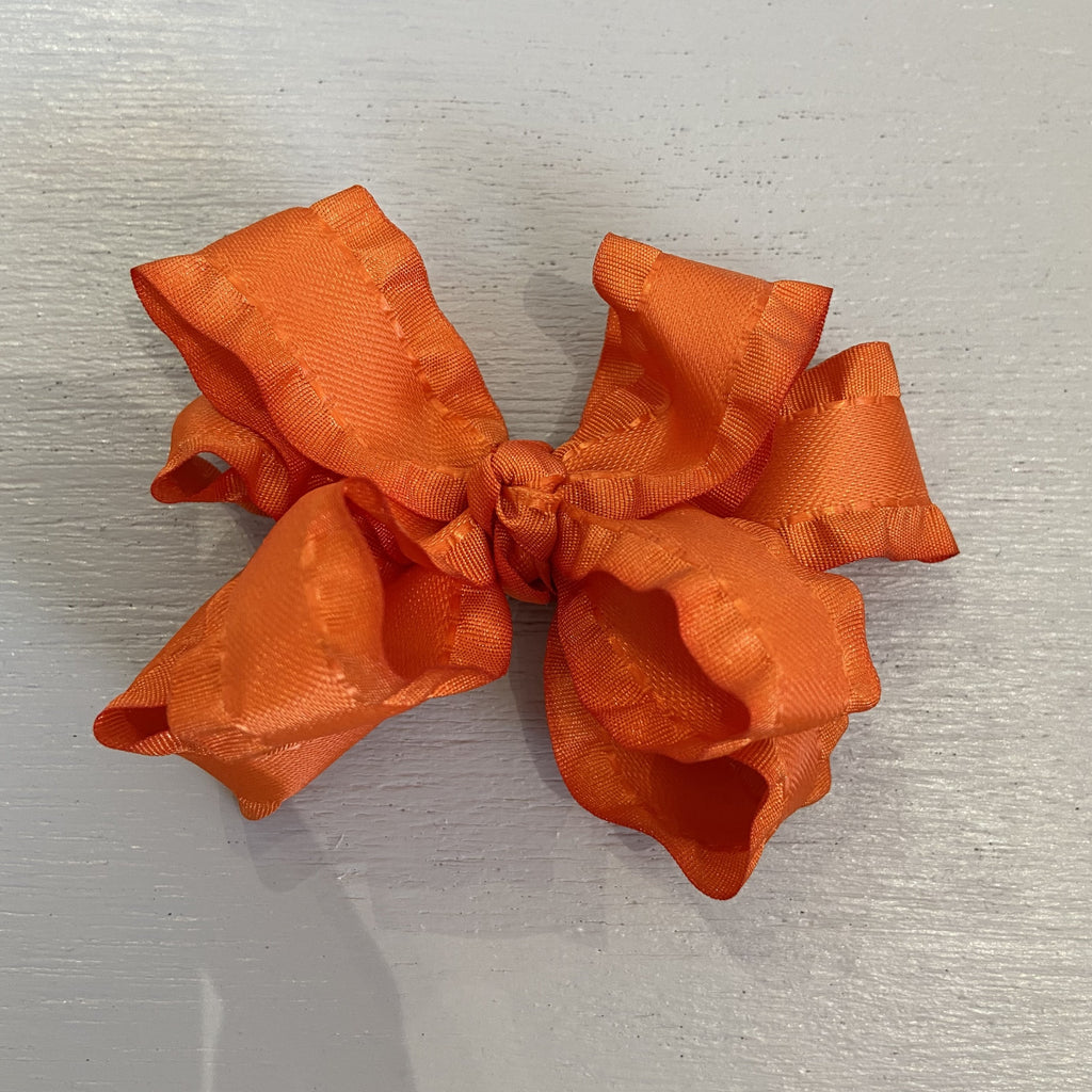 Double Ruffle Bow, Small, Orange