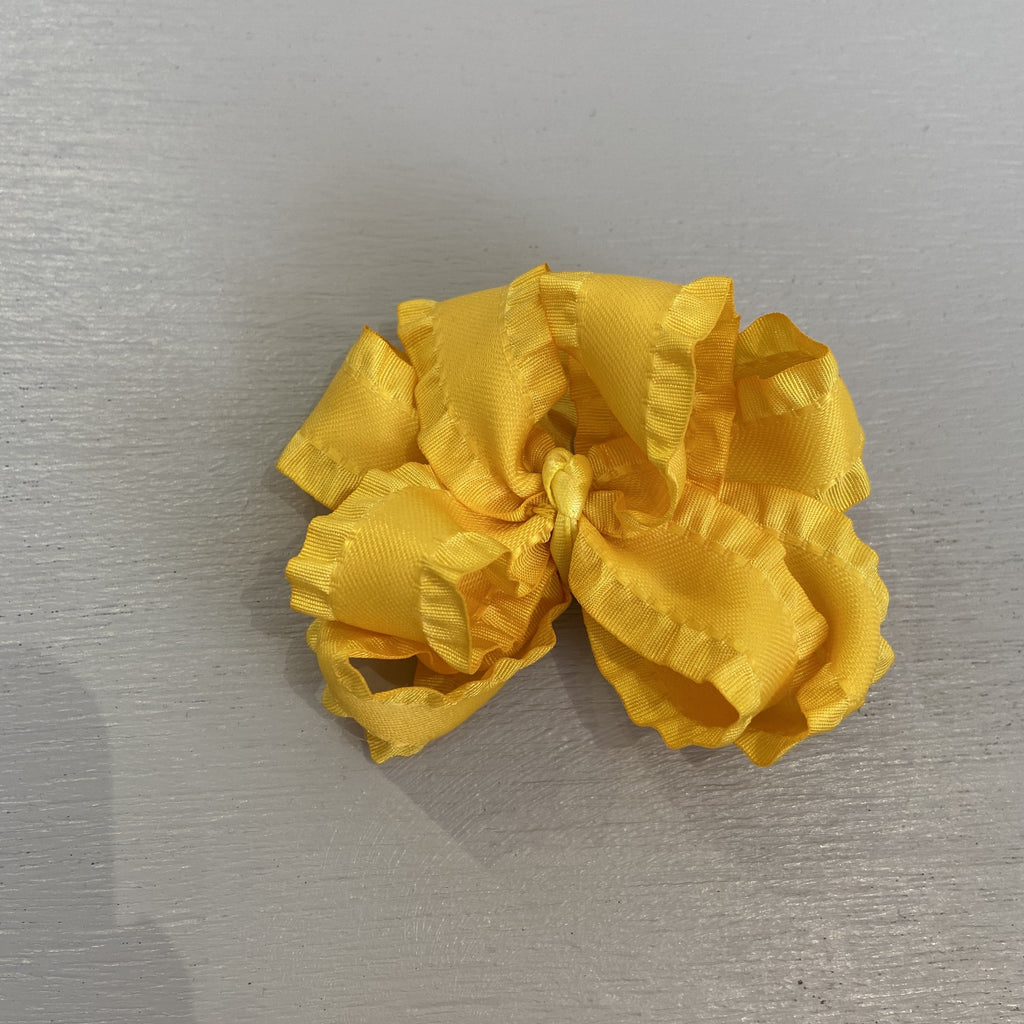 Double Ruffle Bow, Small, Yellow