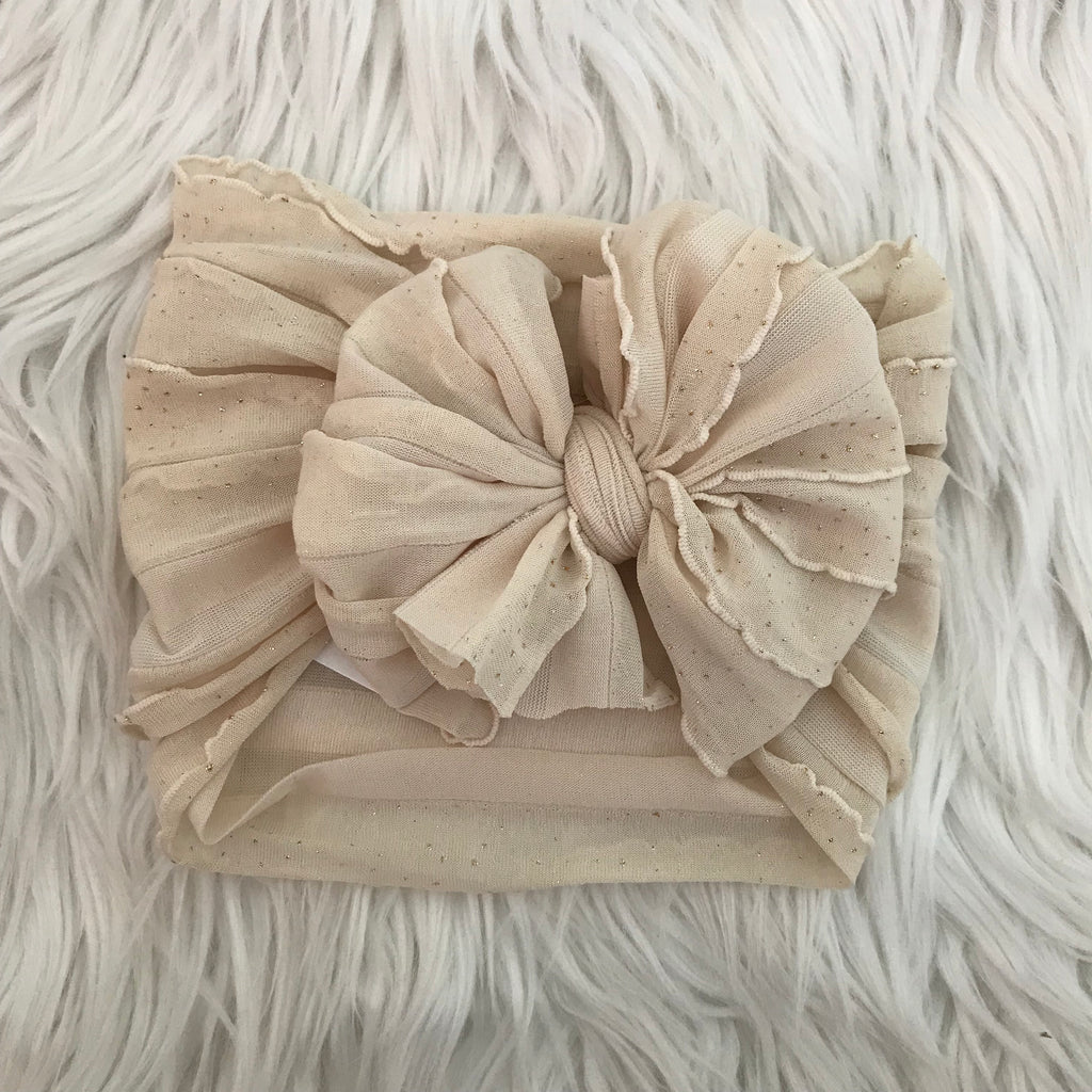 Pre/NB Ruffle Headwrap Ivory Gold Shimmer