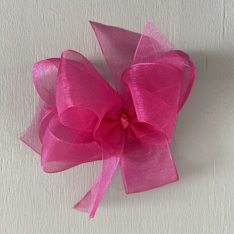 Sheer Bow, Large, Shocking Pink