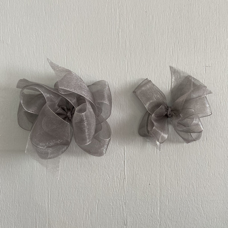 Sheer Bow, Small , Pewter