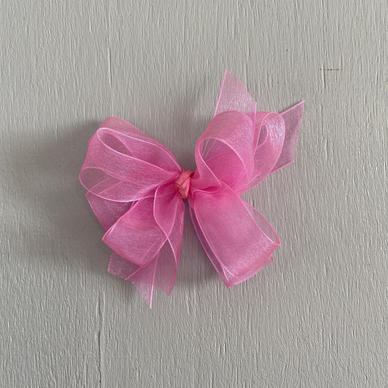 Sheer Bow, Small, Hot Pink