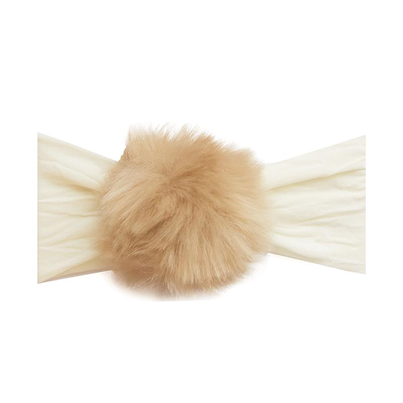 Baby Bling Rabbit Fur Pom Ivory/Camel