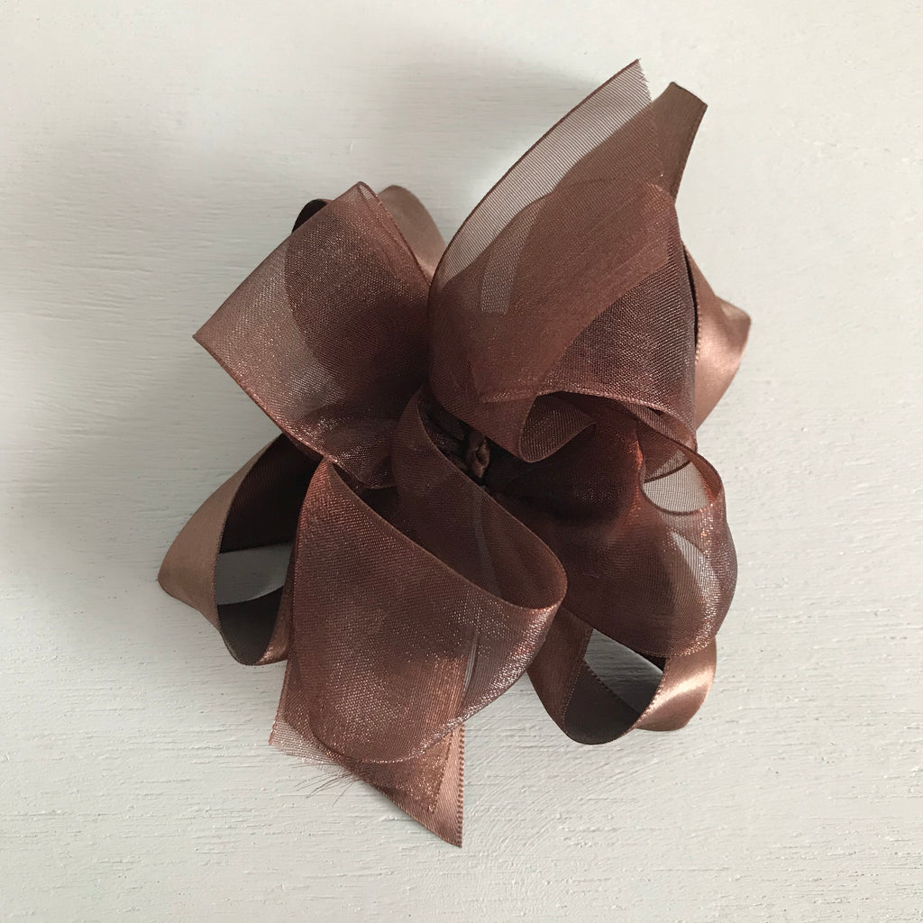 Sheer Satin Bow, Large, Brown