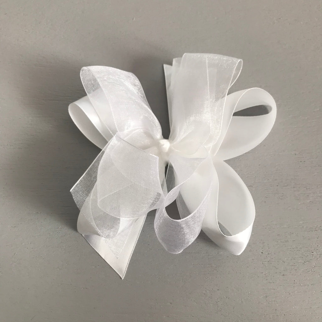 Sheer Satin Bow, Large, White