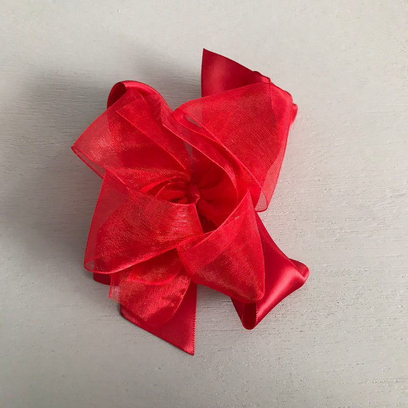 Sheer Satin Bow, Large, Red