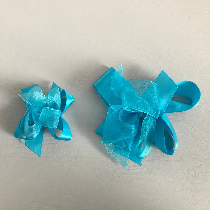 Sheer Satin Bow, Small, Turquoise
