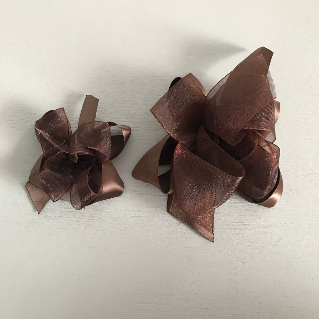 Sheer Satin Bow, Small, Brown