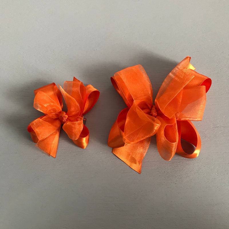 Sheer Satin Bow, Small, Orange