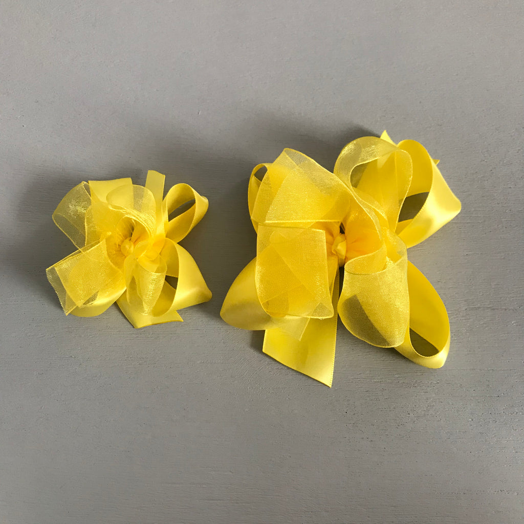 Sheer Satin Bow, Small, Yellow