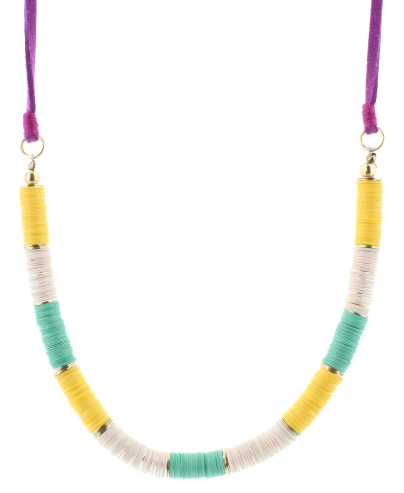 Jane Marie Sequin Necklace, Yellow/Teal/Cream