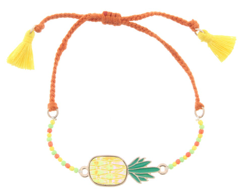 Jane Marie Blue Bead Bracelet w/Orange Stone Yellow Tassel