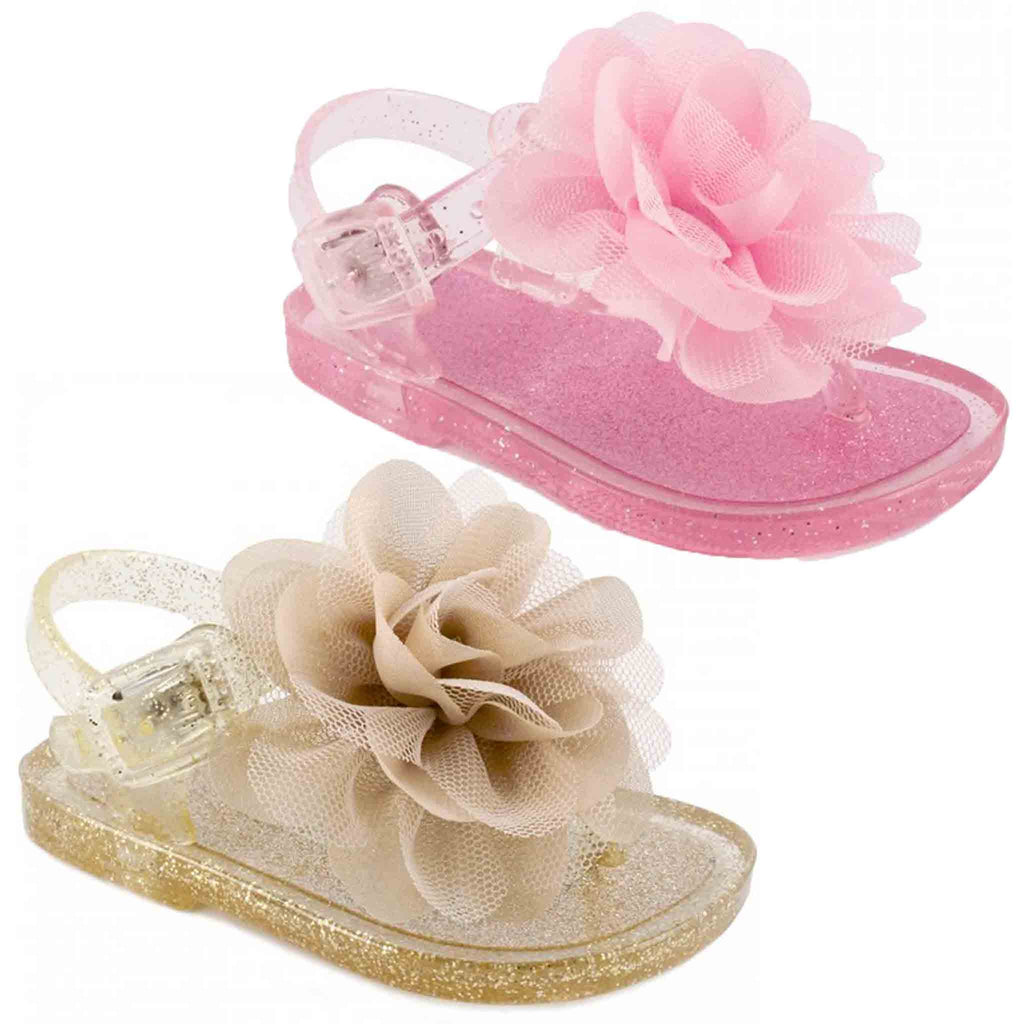 Trimfoot Glitter T-Strap Jelly w/ Flower Olay