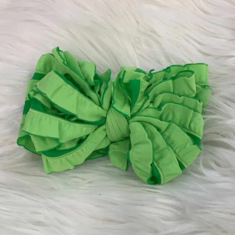 Ruffle Headwrap Kelly Stripe