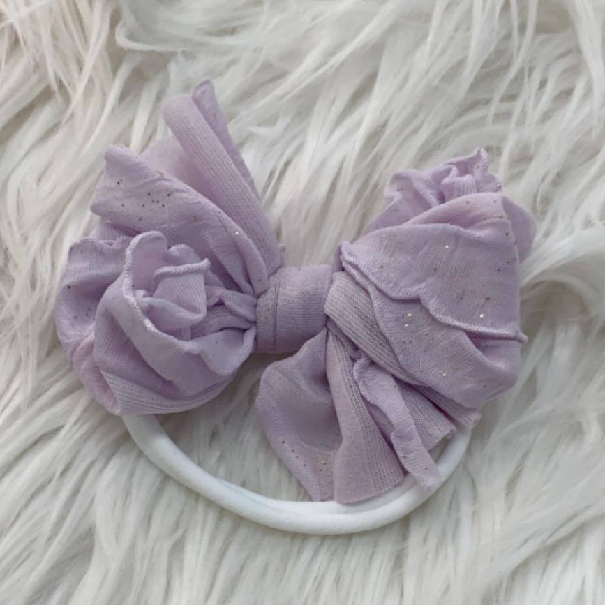 Mini Messy Headband Lilac Gold Glitter