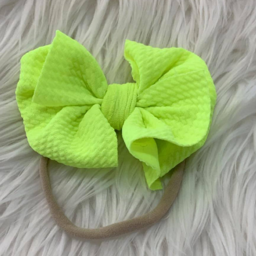 Waffle Knit Mini Headband Neon Yellow