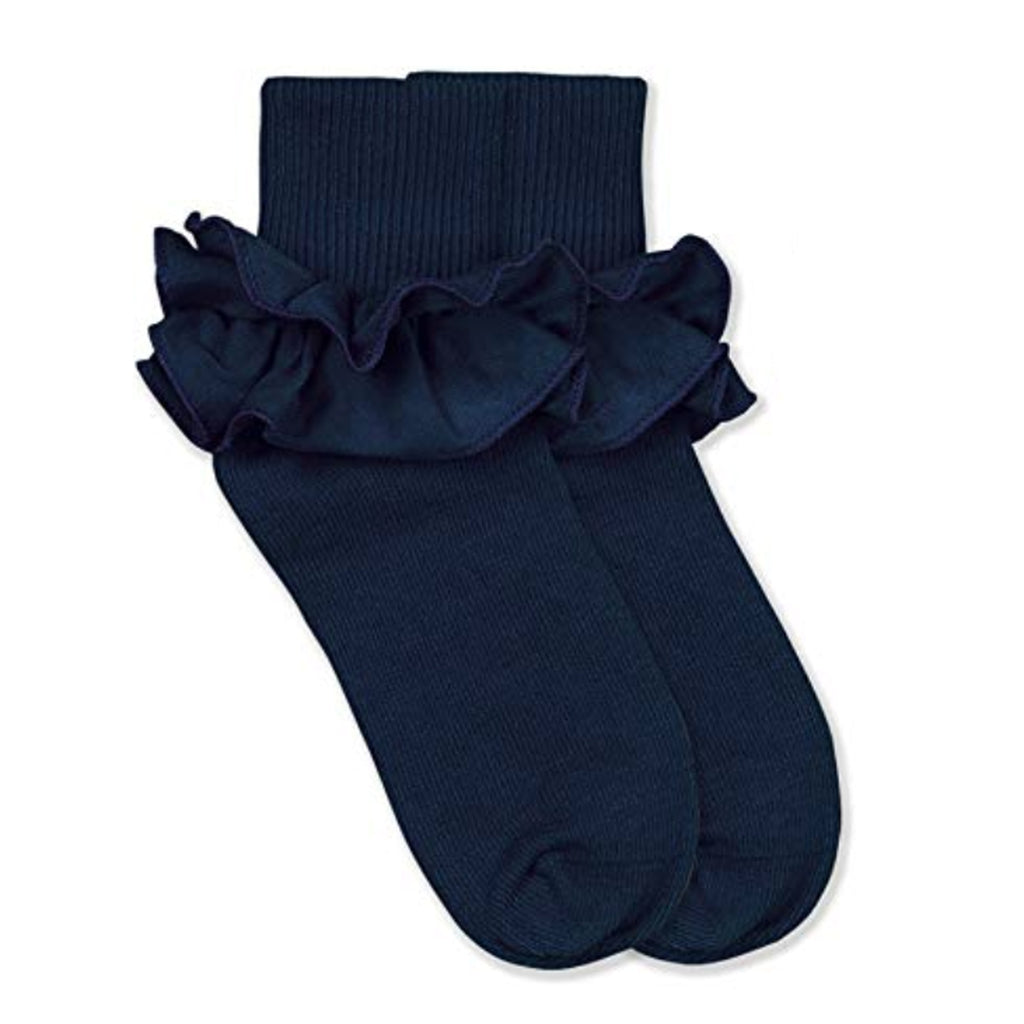 Jefferies Navy Ruffle Socks