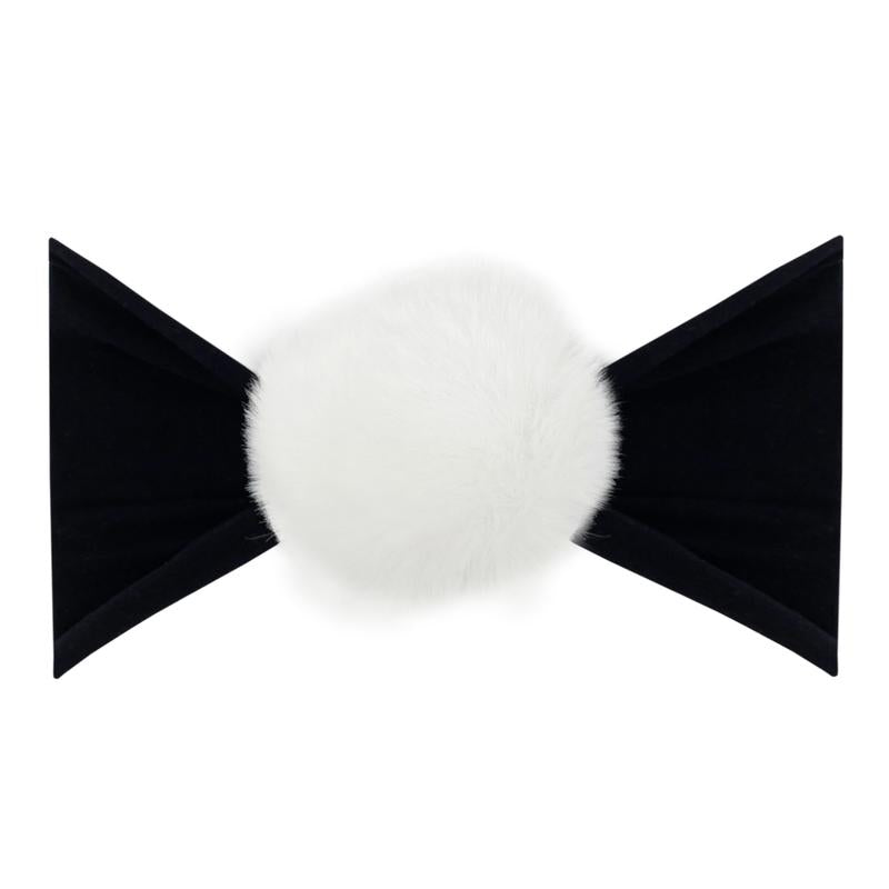 Baby Bling Rabbit Fur Pom Black/ White