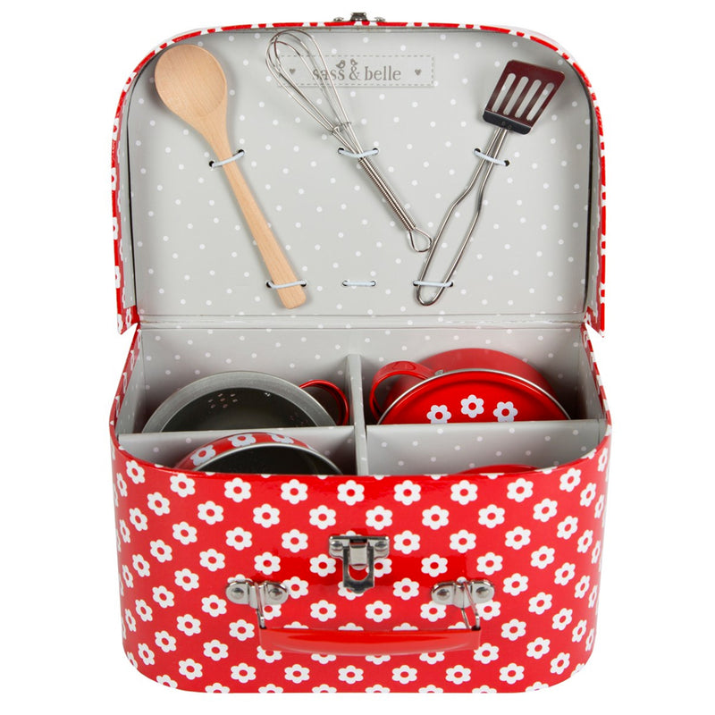 Kitchen Cooking Box Set - Red Daises