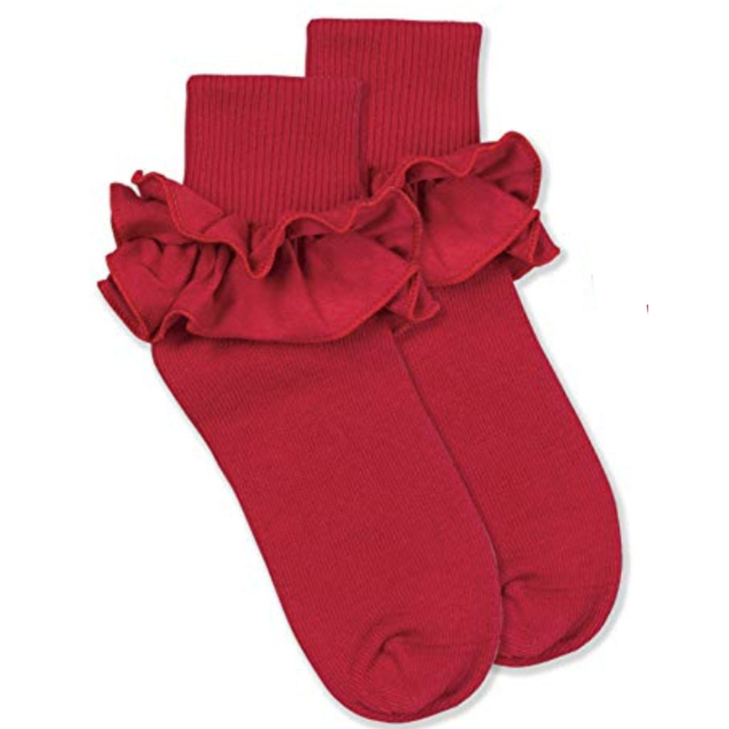 Jefferies Ruffle Sock Red