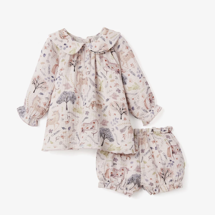 Elegant Baby Floral Dress w/ Bloomer