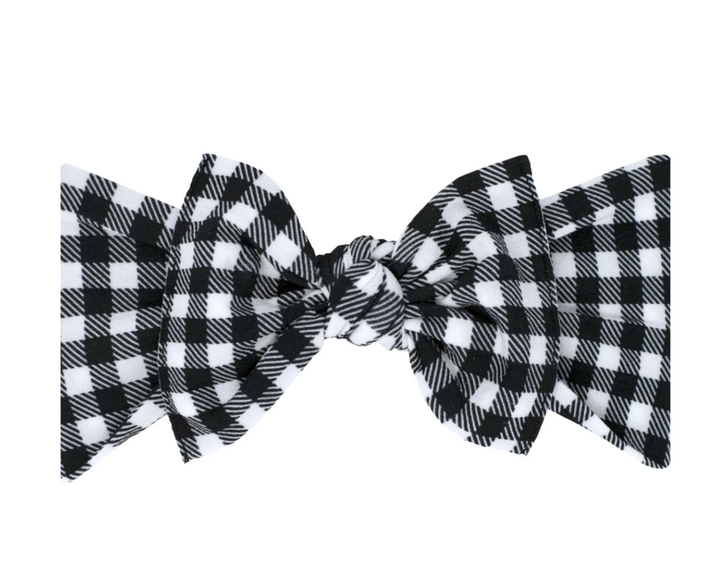 Baby Bling Printed Knot Headband Black Gingham