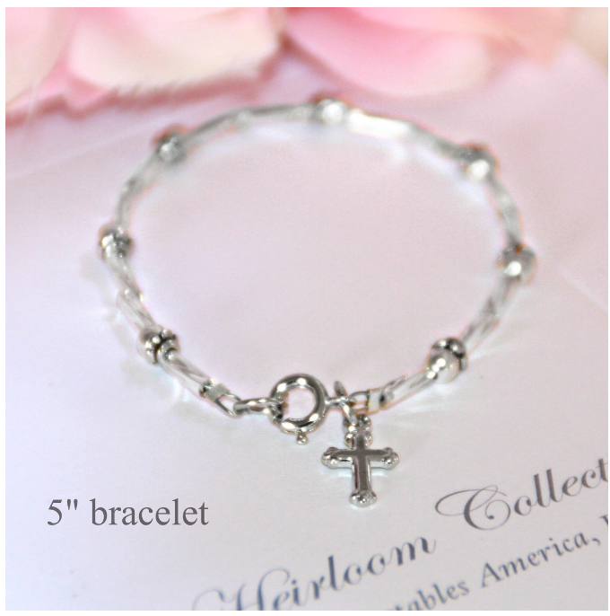 Collectables America Fancy Silver Beaded Bracelet w/ Cross 5""