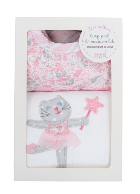 3 Marthas Burp and Bib Box, Ballet Kitty