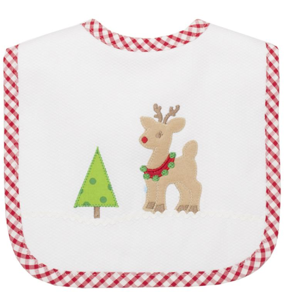 3 Marthas Holiday Feeding Bib, Reindeer