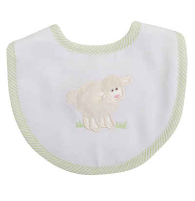 3 Marthas Medium Bib, Green Lamb
