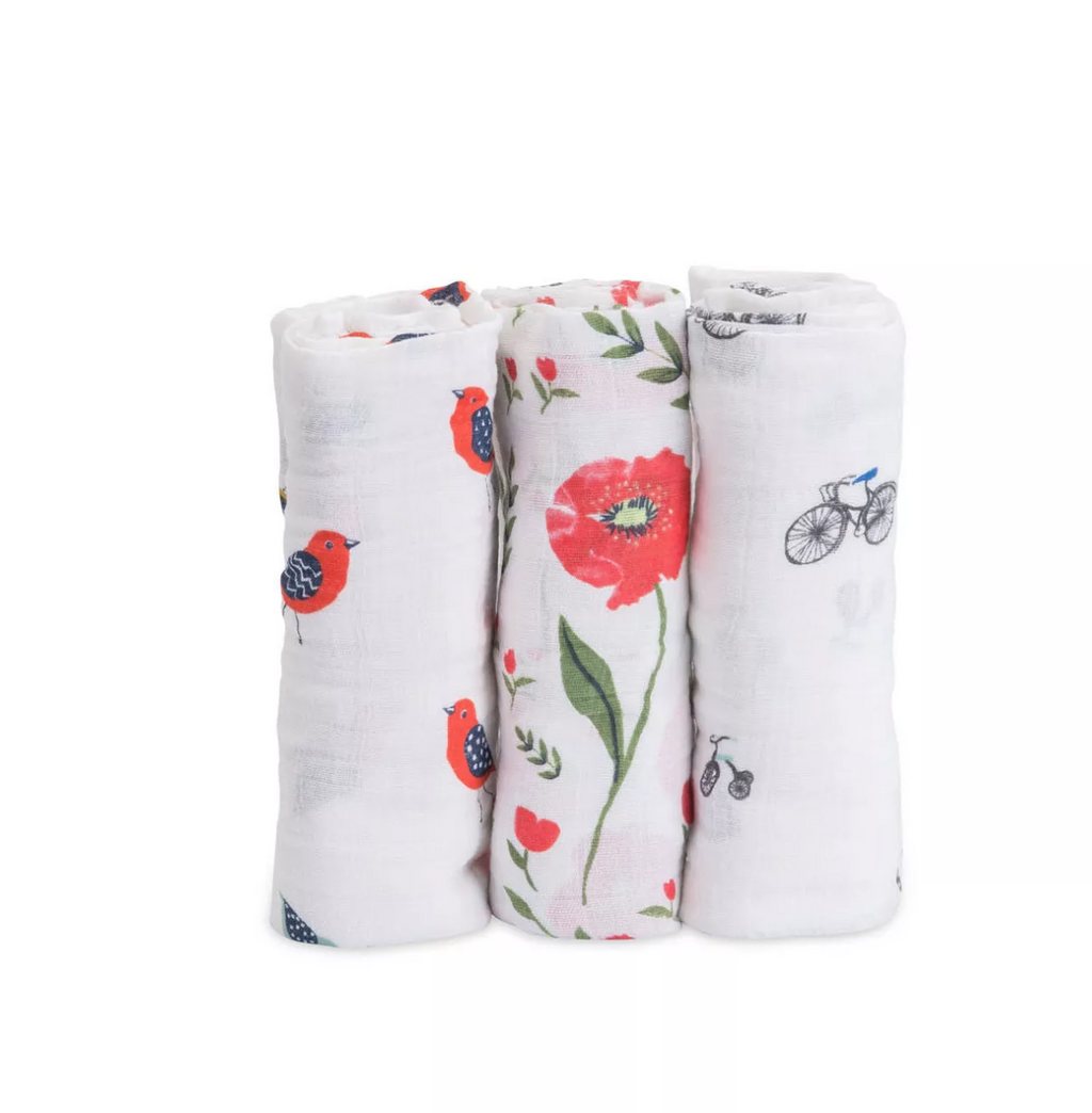 Little Unicorn Cotton Muslin Swaddle 3 Pack Summer Poppy