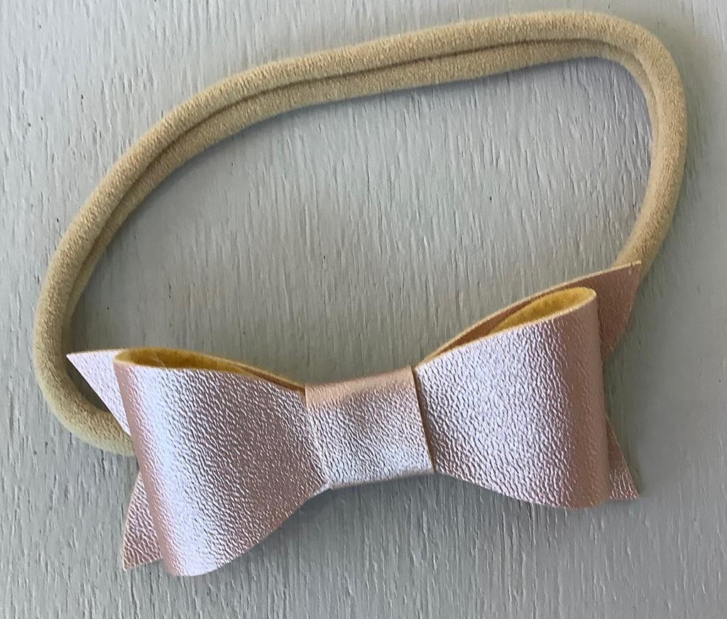 "2"" Infant Bow Pearlized, Rose Gold"