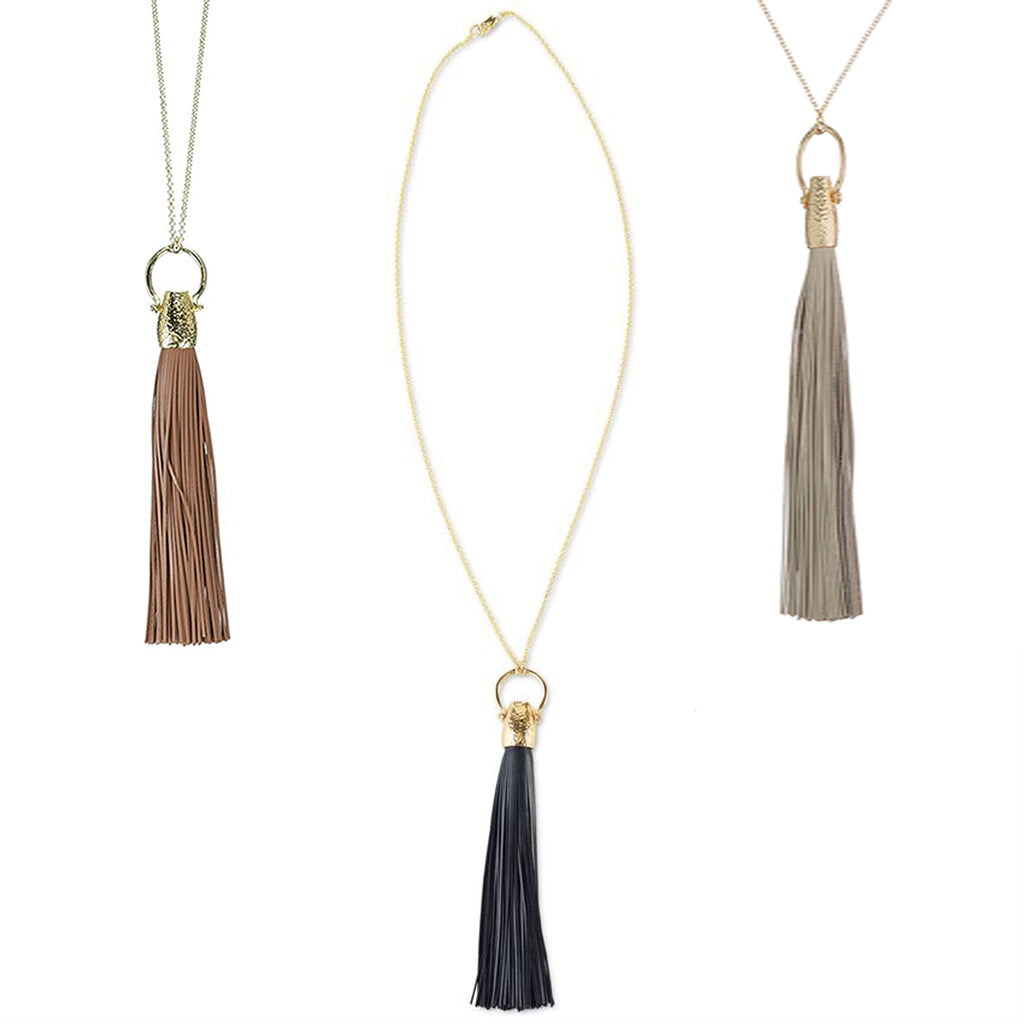 Mudpie Leather Tassel Necklace