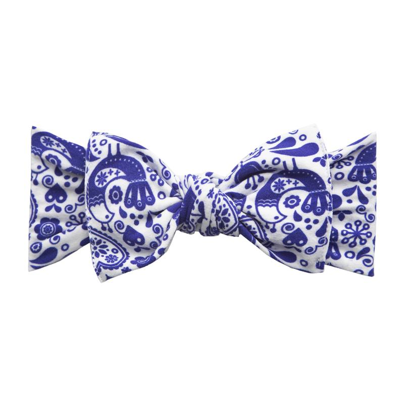 Baby Bling Printed Knot Headband Swiss Toile
