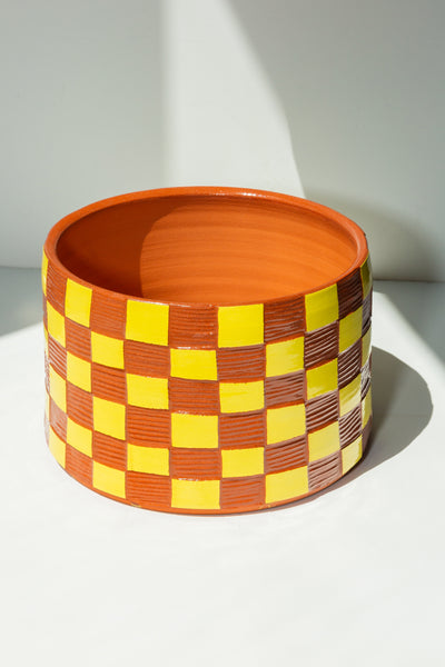Large Terracotta Checkered Planter - Yellow - shoparo