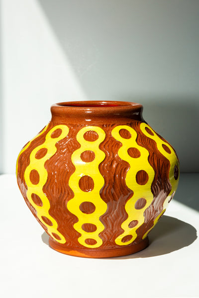 Large Terracotta Vessel - Yellow - shoparo