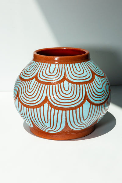 Round Petalled Vessel - Blue - shoparo