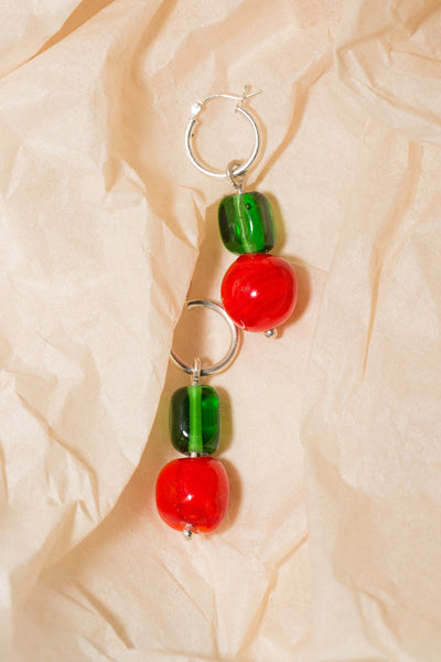 Red Coral and Green Hoop Earrings - shoparo