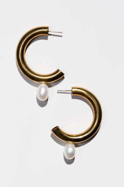 Pearl Hoop Earrings - shoparo
