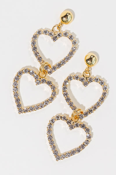 Double Crystal Heart Earrings - shoparo