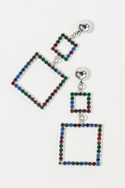 Double Crystal Square Earrings - shoparo
