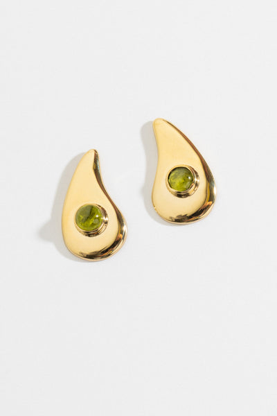Wave Earrings in Peridot