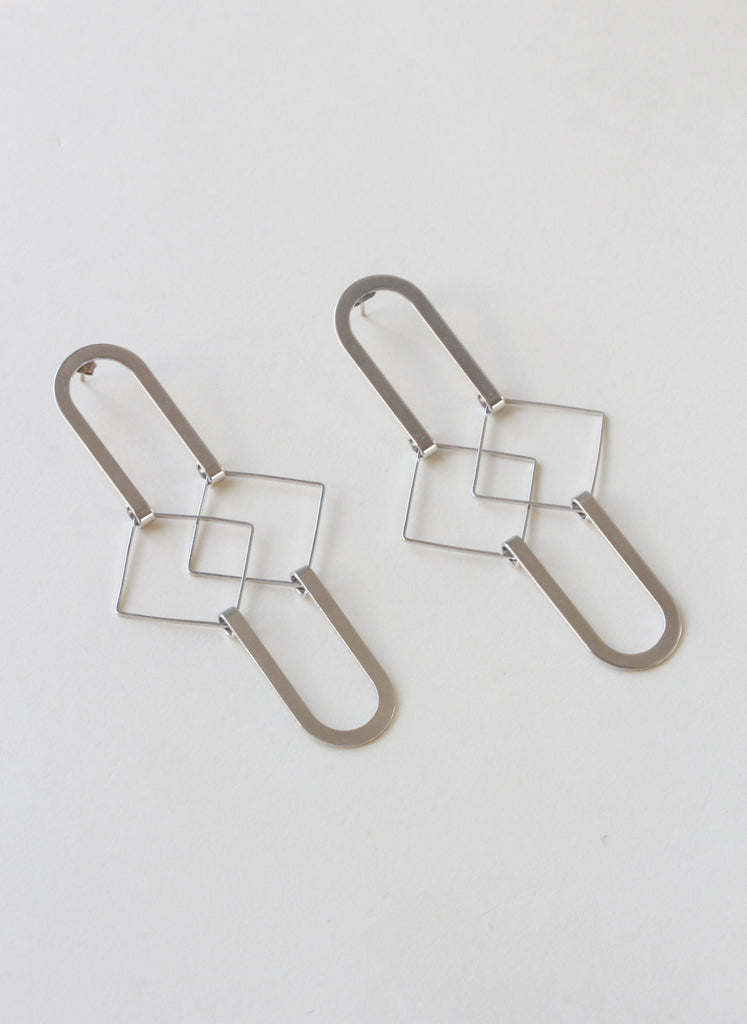 Silver Squared Earrings - shoparo
