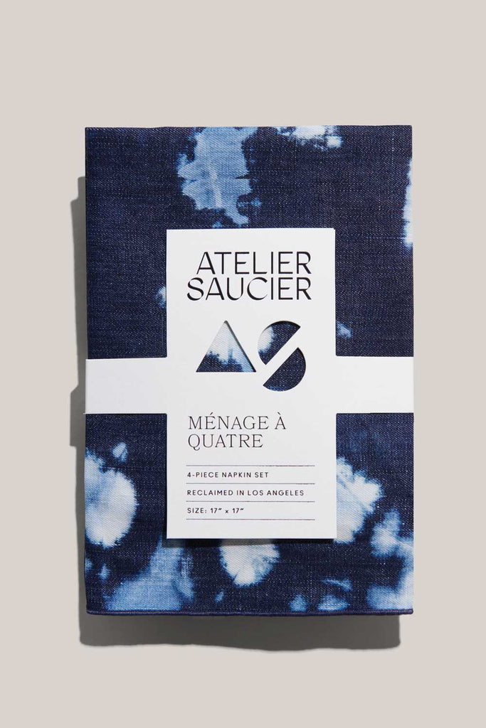 Tie-Dye Denim Linen Napkins, Set of 4