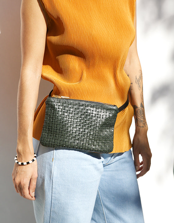 Cab Collection Ryder Mini Basket Weave Fanny Pack - shoparo