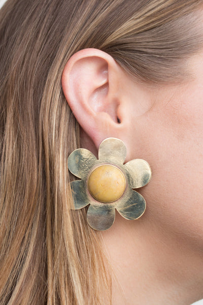 Large Daisy Earrings with Yellow Jasper - shoparo