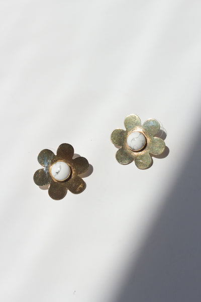 Medium Daisy Earrings with Howlite Stone
