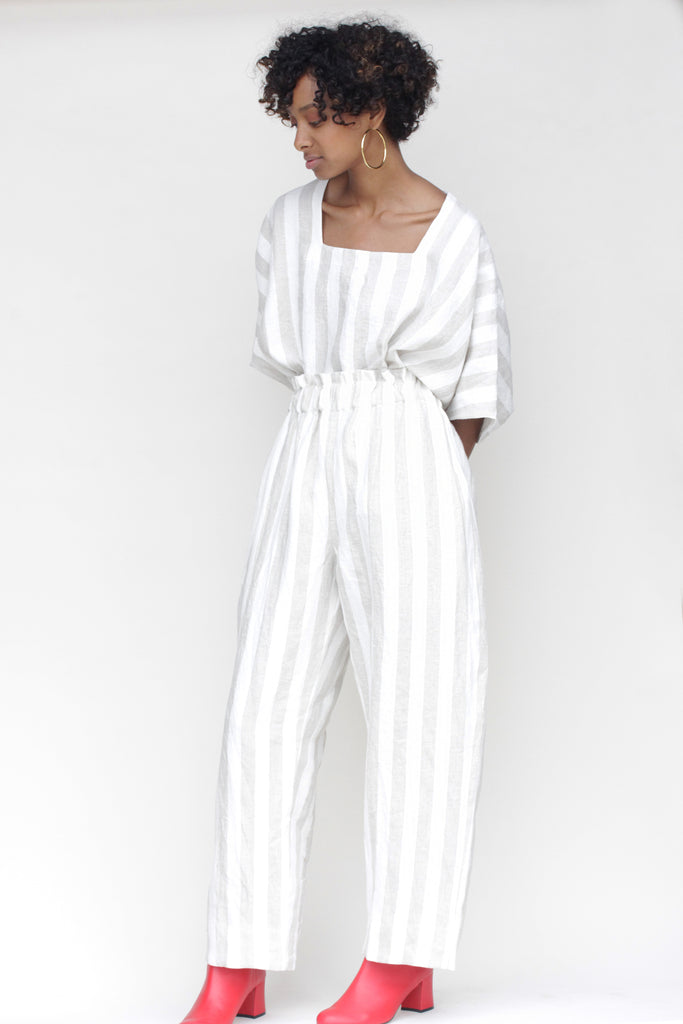 Lauren Winter Sage Stripe Linen Pants - ARO