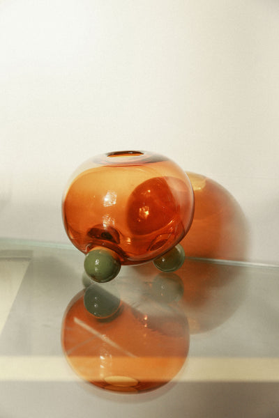 Glass Round Tripod Vase - Amber/Green