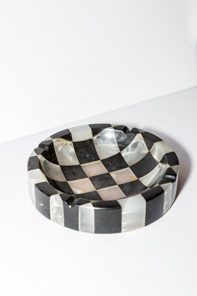 Vintage Checkered Marble Bowl